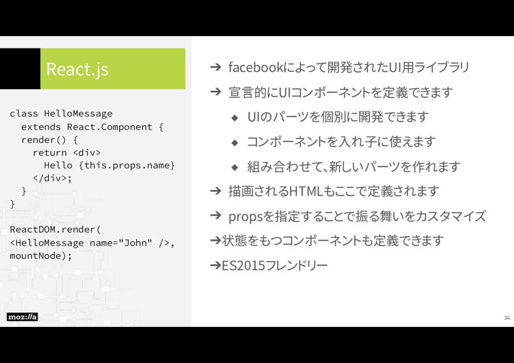 React.js ➔ facebookによって開発されたUI用ライブラリ ➔ 宣言的にUIコン...