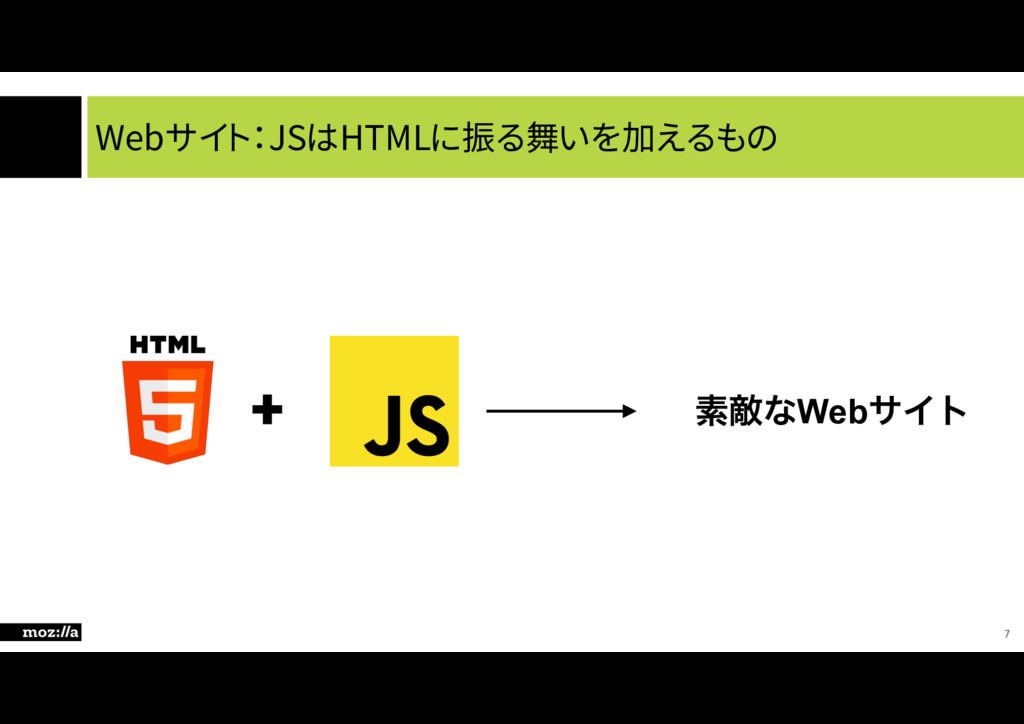 Webサイト:JSはHTMLに振る舞いを加えるもの 7 + ૉఢͳWebαΠτ