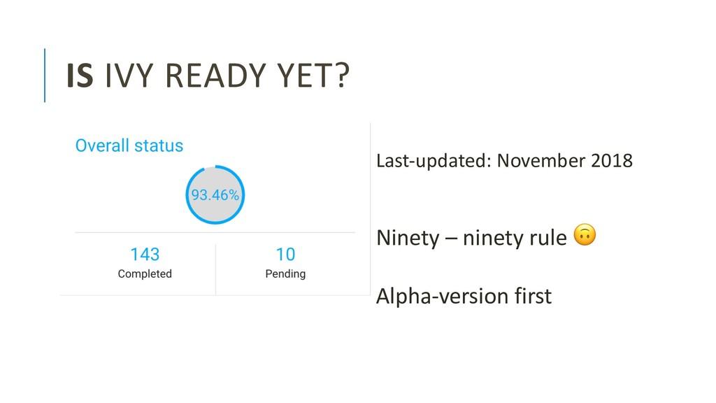 IS IVY READY YET? Ninety – ninety rule ! Alpha-...