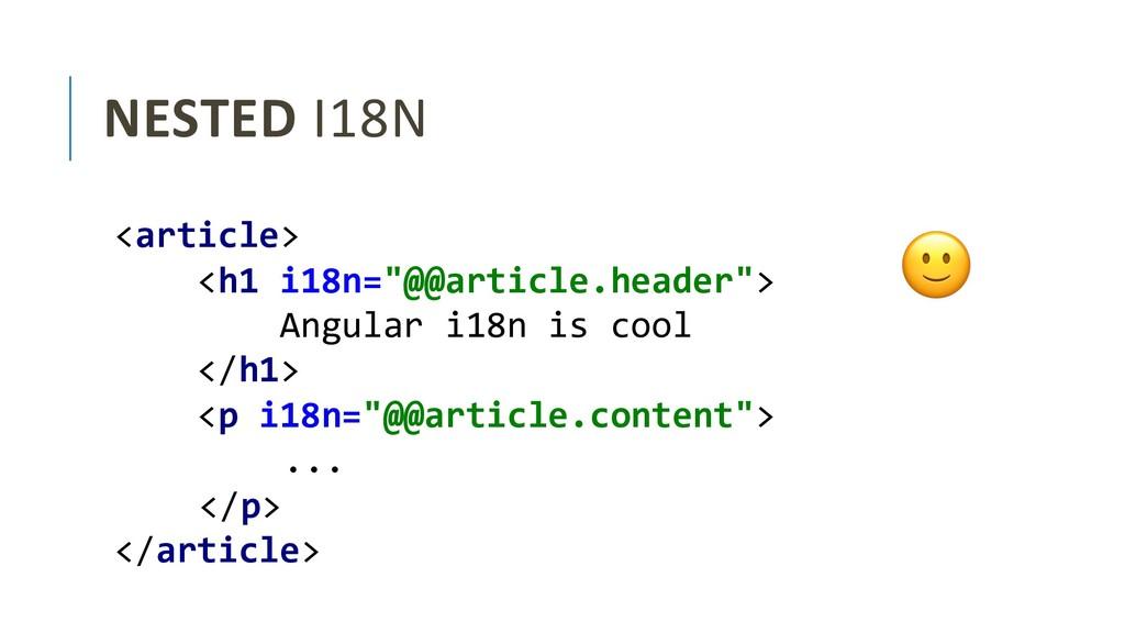 NESTED I18N <div> <div> Angular i18n is cool </...