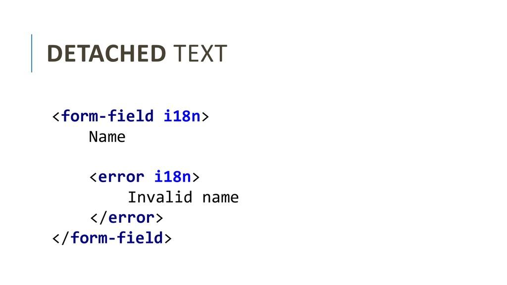DETACHED TEXT <form-field i18n> Name <error i18...
