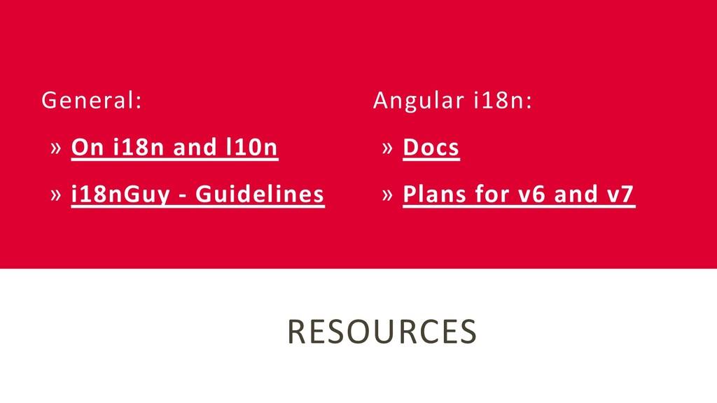 RESOURCES Angular i18n: » Docs » Plans for v6 a...