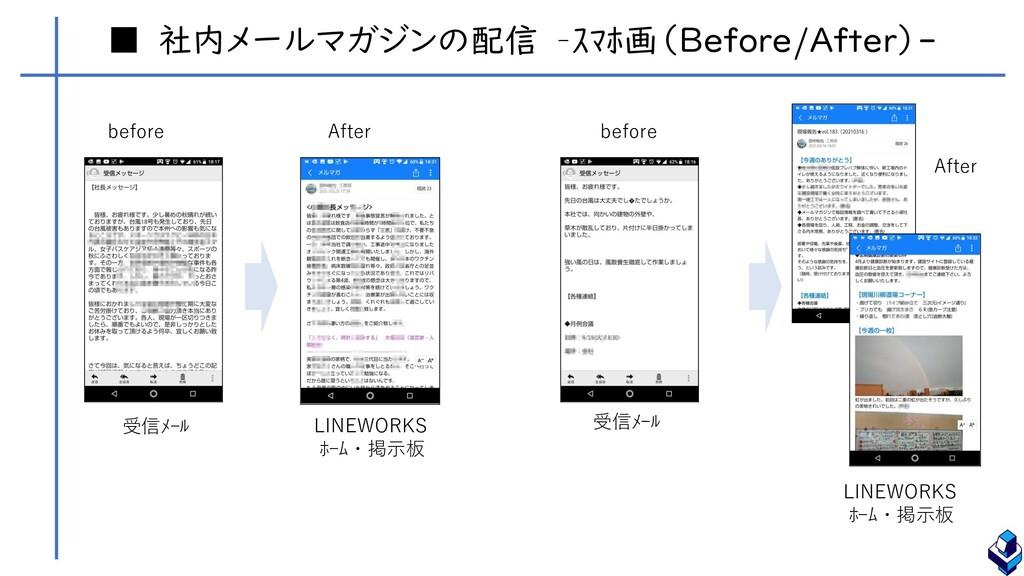 ■ 社内メールマガジンの配信 –スマホ画(Before/After)- 受信メール 受信メール...
