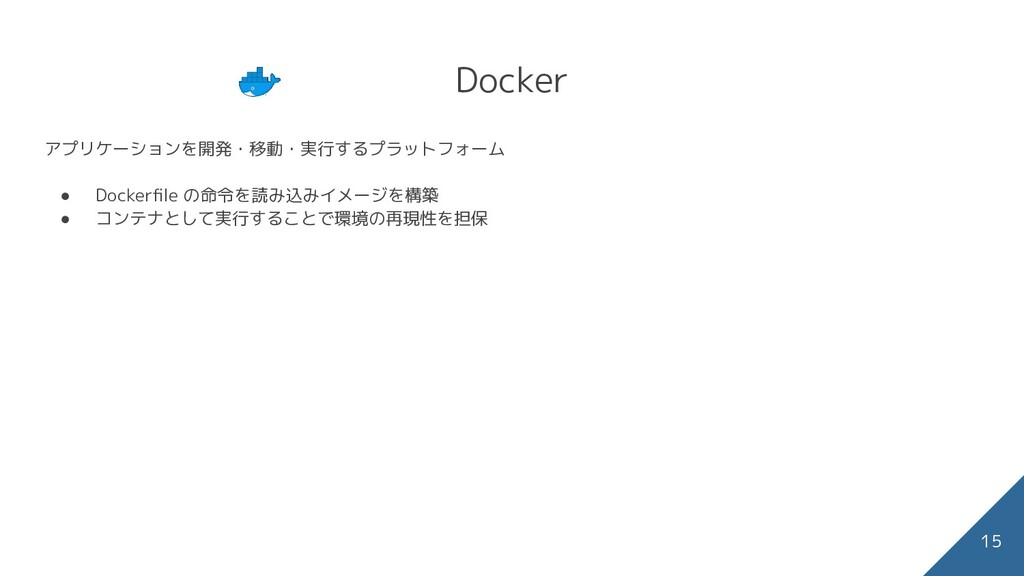 Docker アプリケーションを開発・移動・実行するプラットフォーム ● Dockerfile ...
