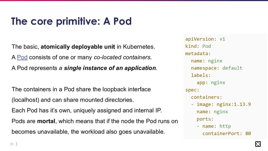 33 The core primitive: A Pod The basic, atomica...