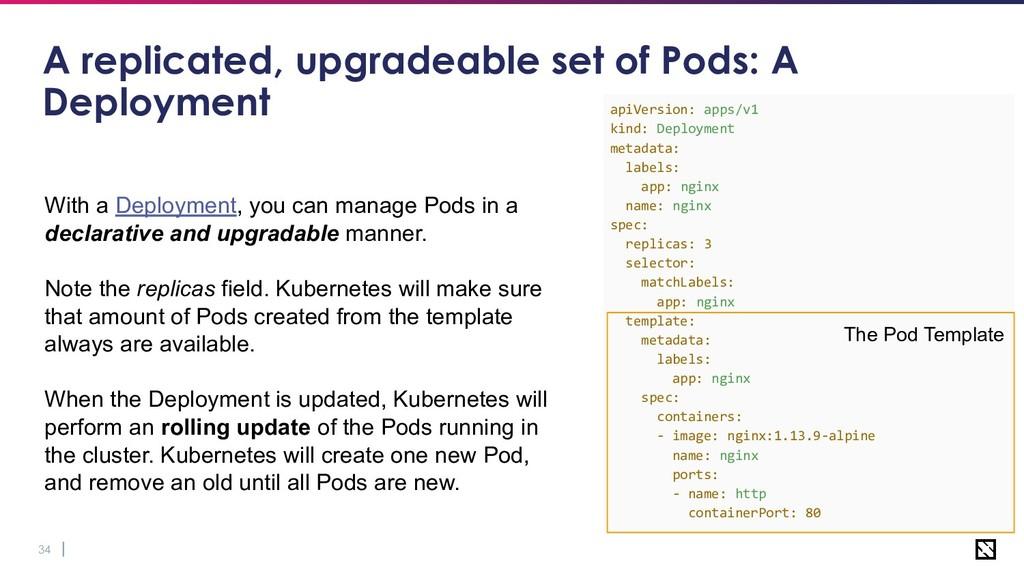 34 A replicated, upgradeable set of Pods: A Dep...