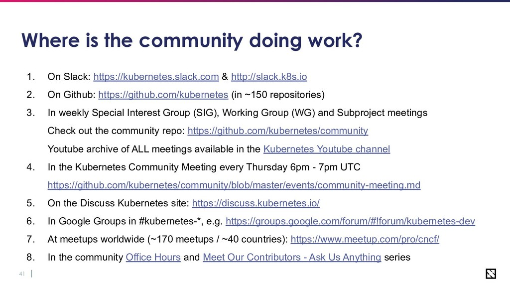 41 Where is the community doing work? 1. On Sla...