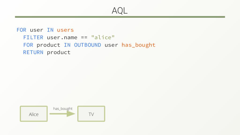 "FOR user IN users FILTER user.name == ""alice"" F..."