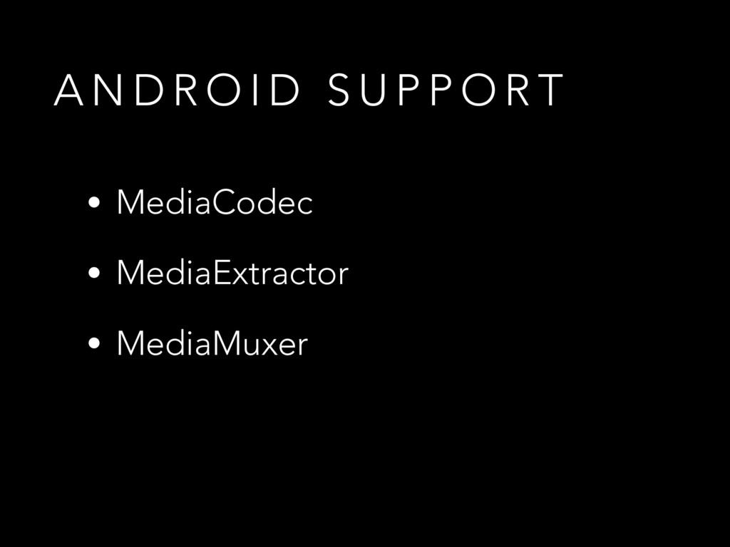A N D R O I D S U P P O R T • MediaCodec • Medi...