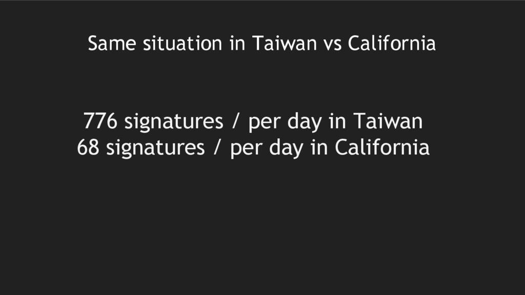Same situation in Taiwan vs California 776 sign...