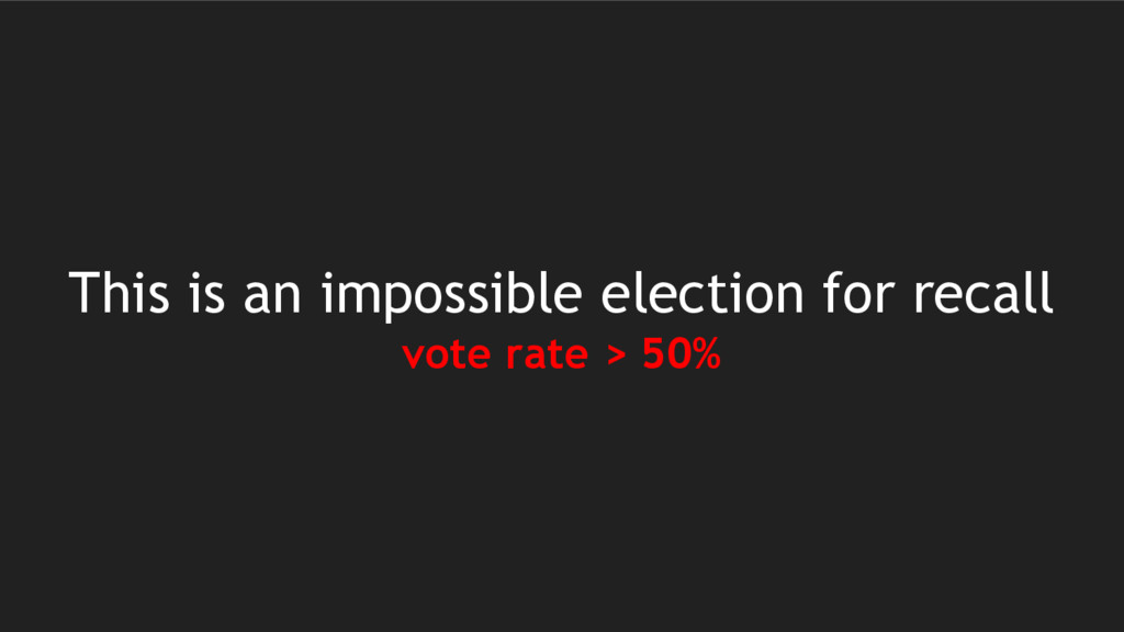 This is an impossible election for recall vote ...