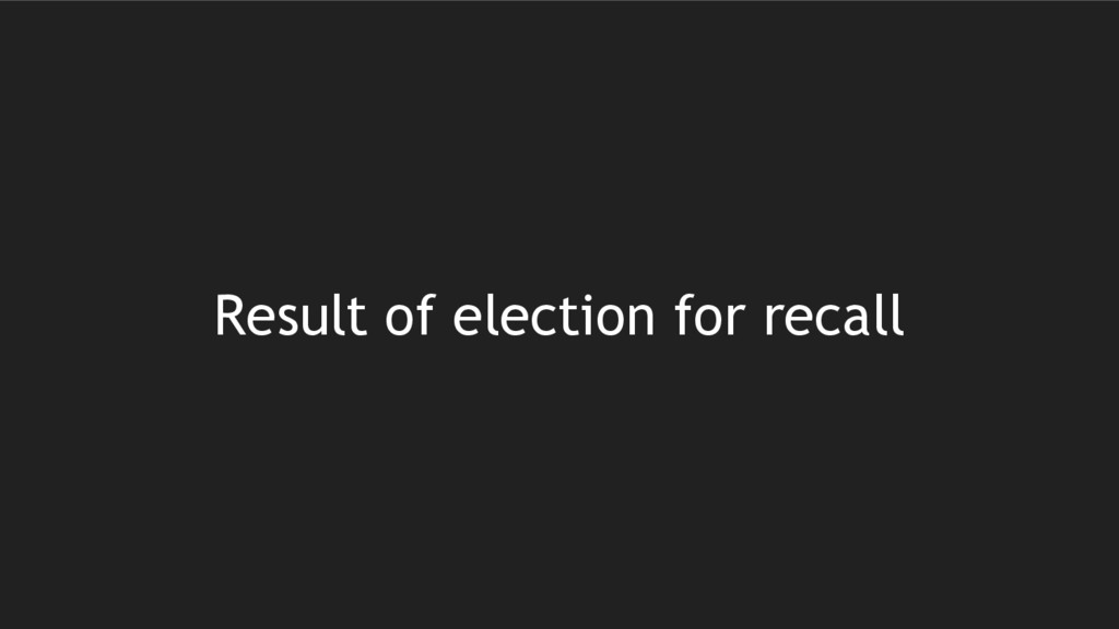 Result of election for recall