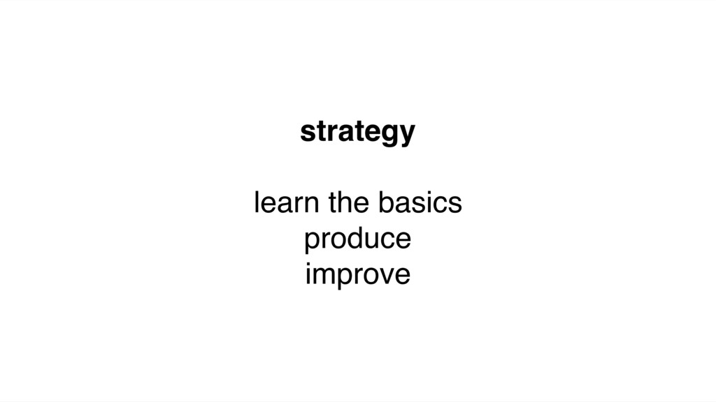 strategy learn the basics produce improve