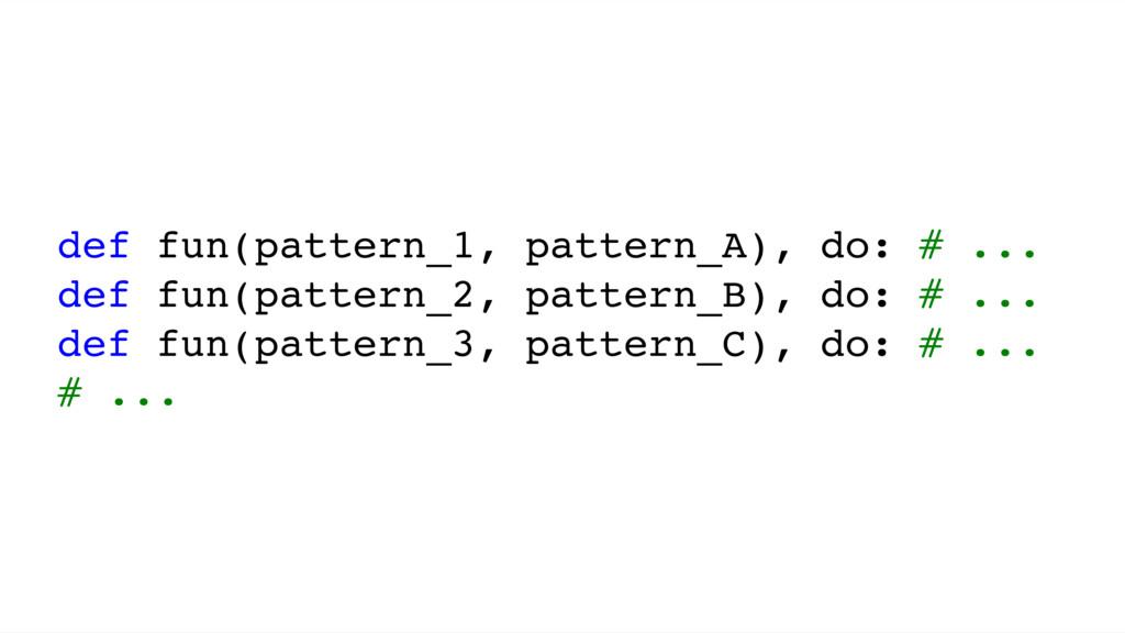 def fun(pattern_1, pattern_A), do: # ... def fu...