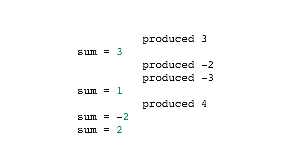 produced 3 sum = 3 produced -2 produced -3 sum ...