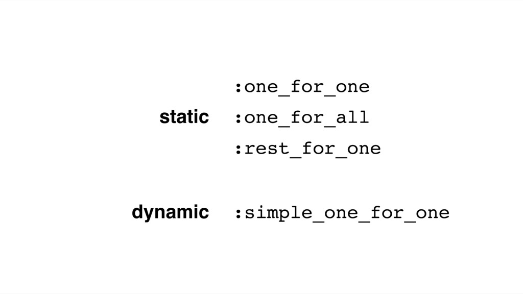 static :one_for_one :one_for_all :rest_for_one ...