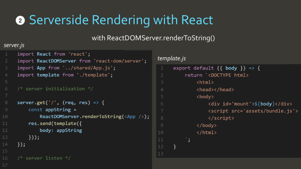 Serverside Rendering with React • with ReactDOM...