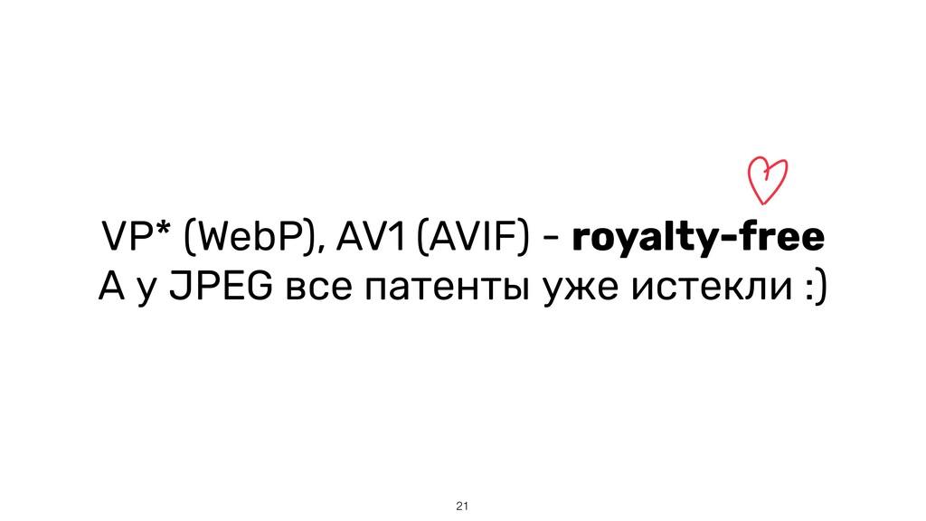 21 VP* (WebP), AV1 (AVIF) - royalty-free   А у ...
