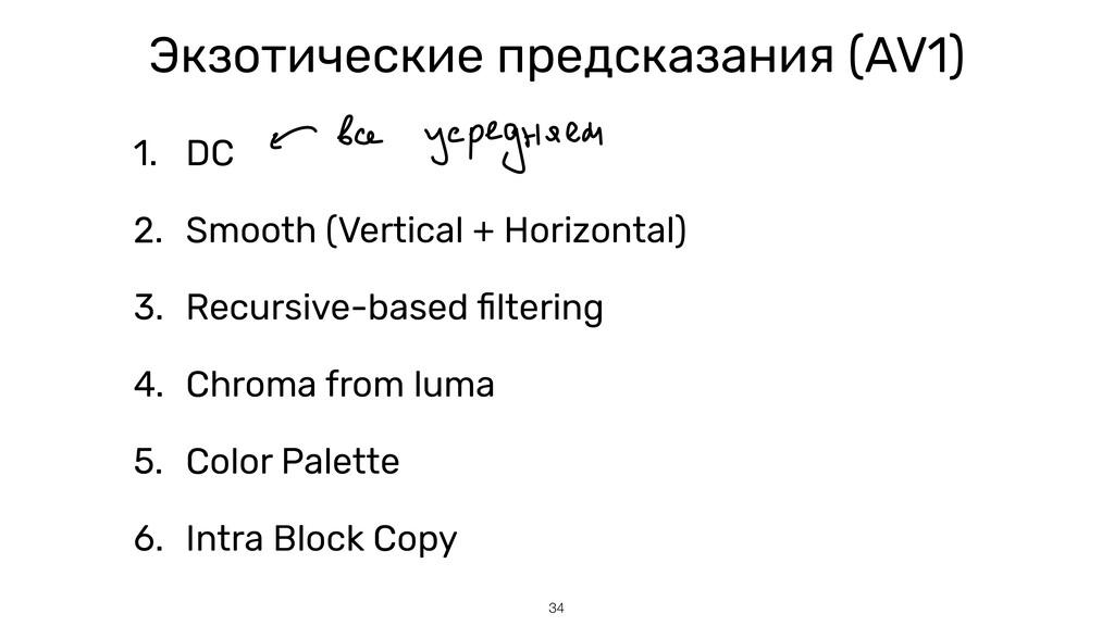 34 Экзотические предсказания (AV1) 1. DC   2. S...