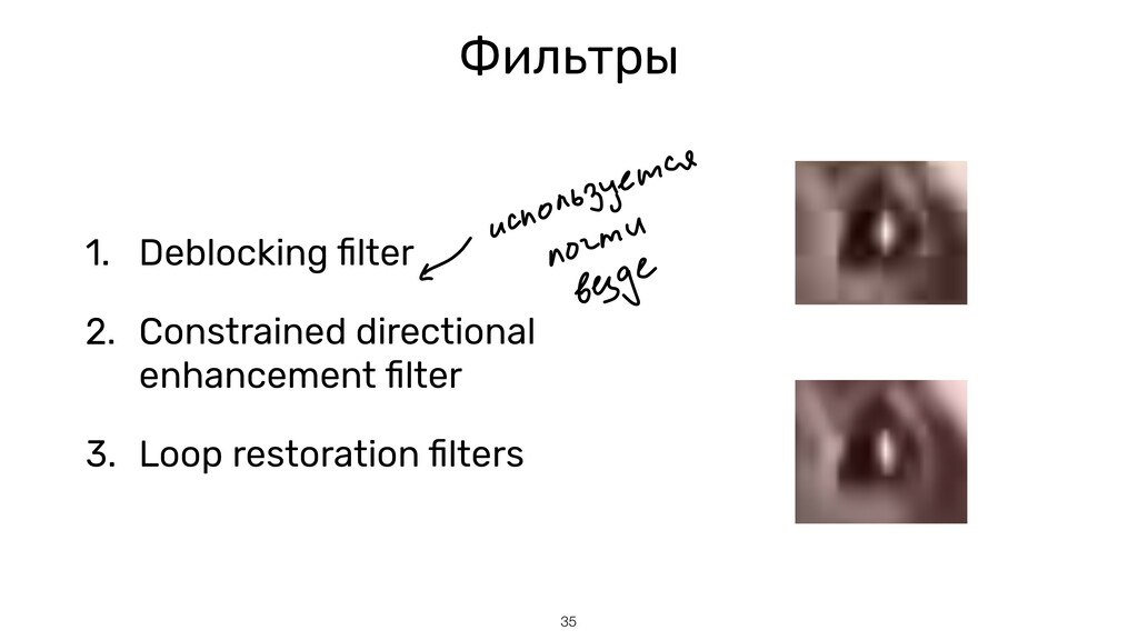35 Фильтры 1. Deblocking fi lter   2. Constrain...