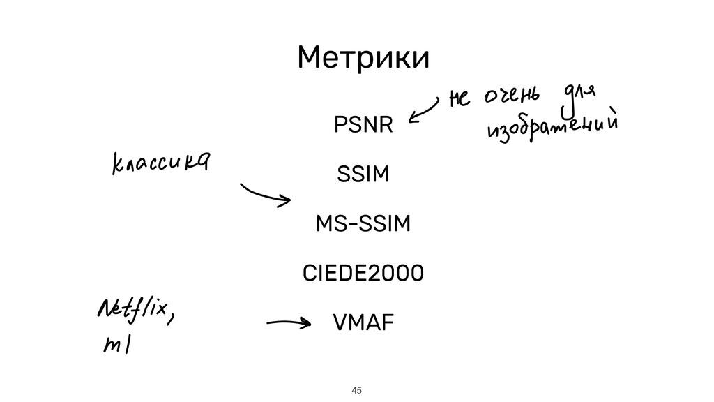 45 Метрики PSNR   SSIM   MS-SSIM   CIEDE2000   ...