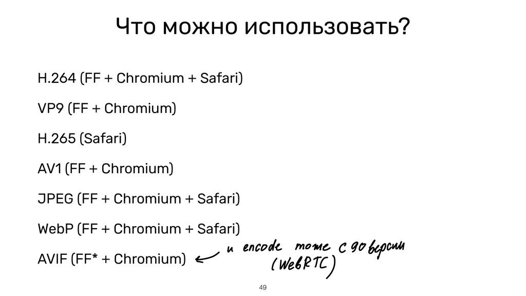 Что можно использовать? H.264 (FF + Chromium + ...