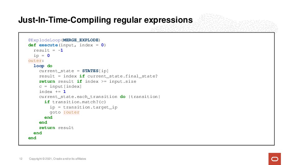 Just-In-Time-Compiling regular expressions @Exp...