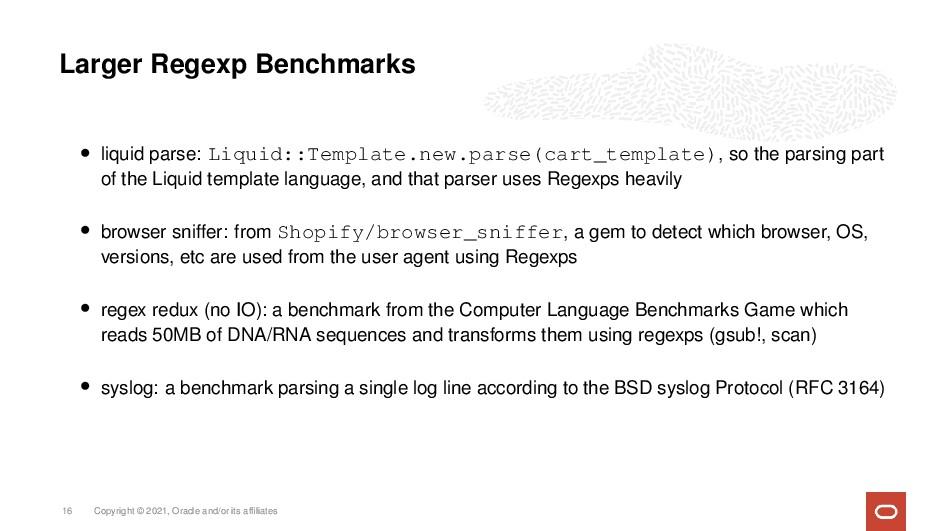 Larger Regexp Benchmarks • liquid parse: Liquid...