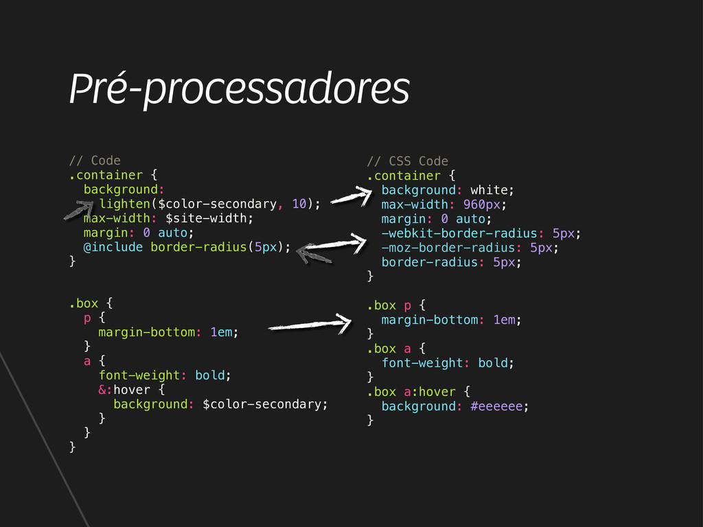 Pré-processadores // CSS Code .container { back...