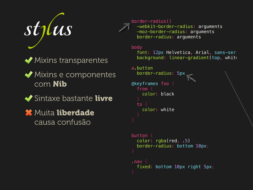 border-radius() -webkit-border-radius: argument...
