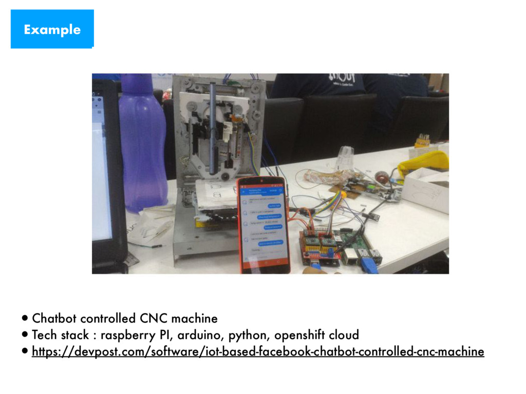 Example •Chatbot controlled CNC machine •Tech s...