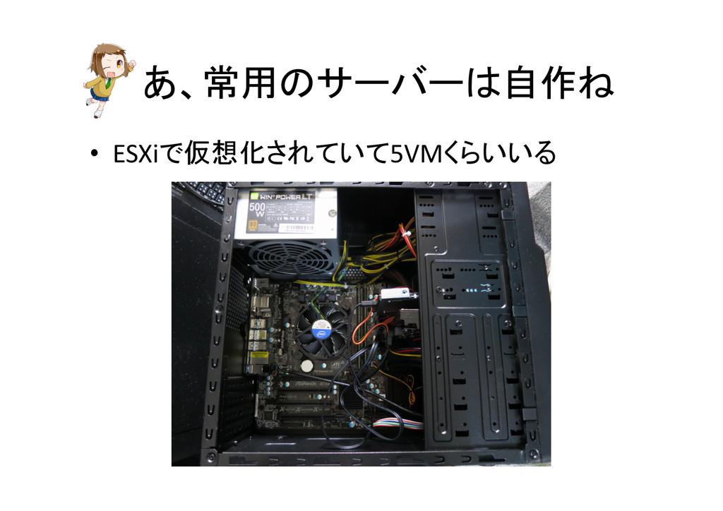 あ、常用のサーバーは自作ね • ESXiで仮想化されていて5VMくらいいる