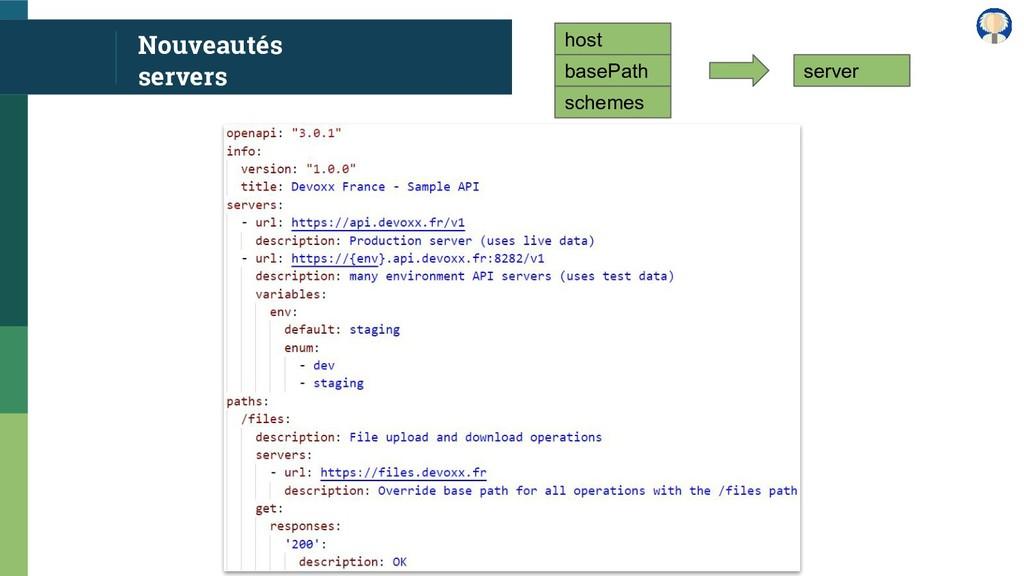 Nouveautés servers host basePath schemes server