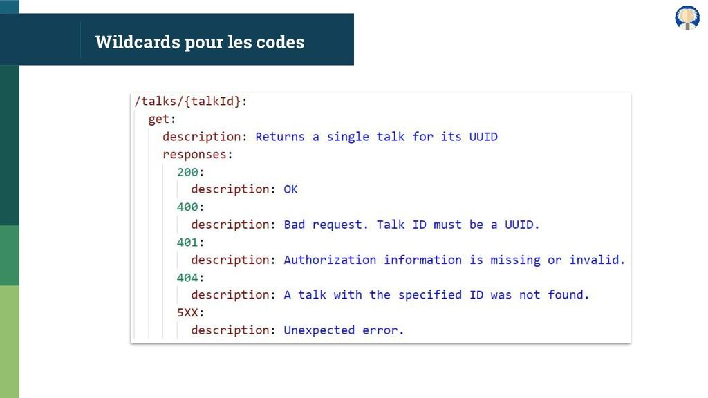 Wildcards pour les codes