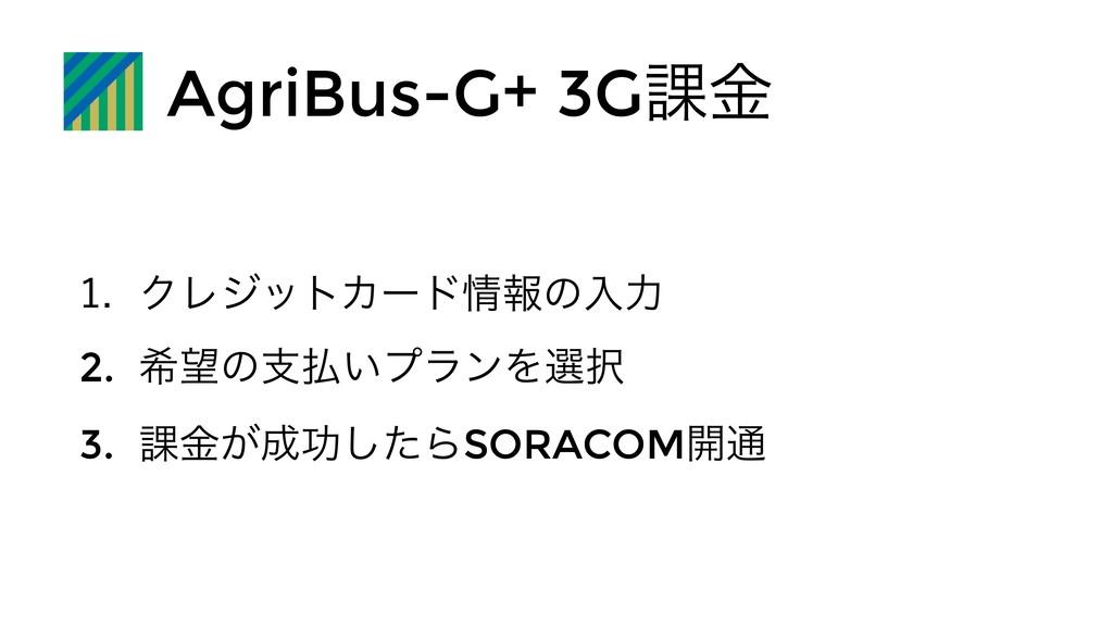 AgriBus-G+ 3G՝ۚ  ΫϨδοτΧʔυใͷೖྗ 2. رͷࢧ͍ϓϥϯΛબ...