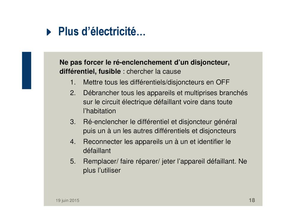 Plus d'électricité… Ne pas forcer le ré-enclenc...