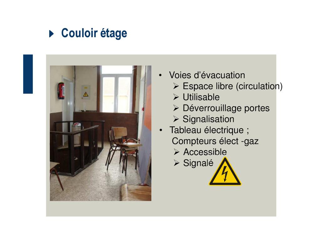 Couloir étage • Voies d'évacuation Espace libre...