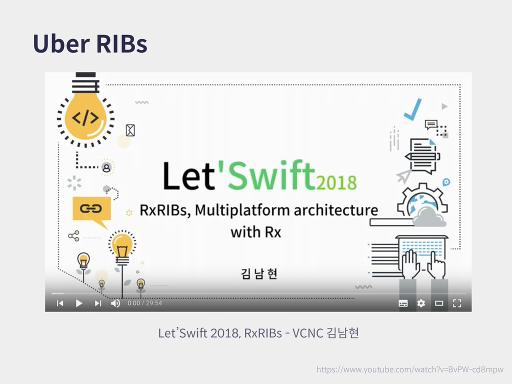 Uber RIBs Let'Swift 2018, RxRIBs - VCNC 김남현 htt...