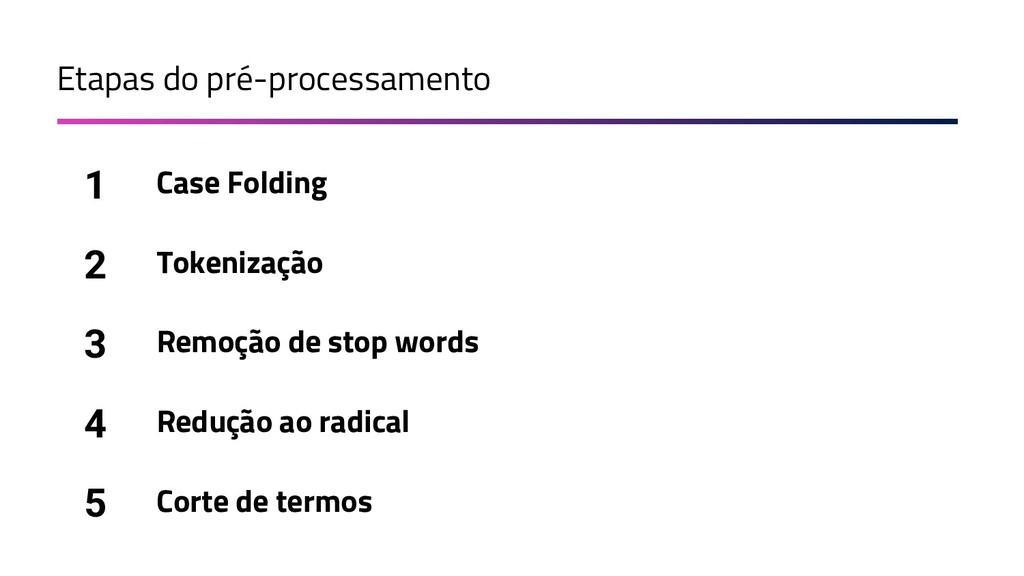 Etapas do pré-processamento Case Folding 1 Toke...