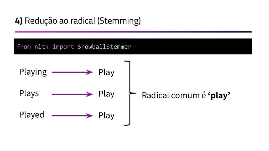 4) Redução ao radical (Stemming) Playing Plays ...