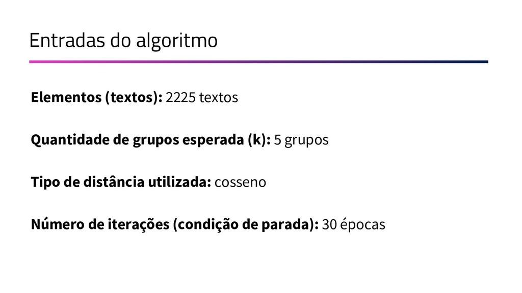 Entradas do algoritmo Elementos (textos): 2225 ...