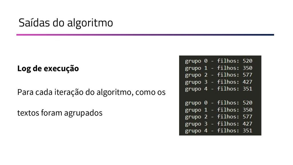 Saídas do algoritmo Log de execução Para cada i...