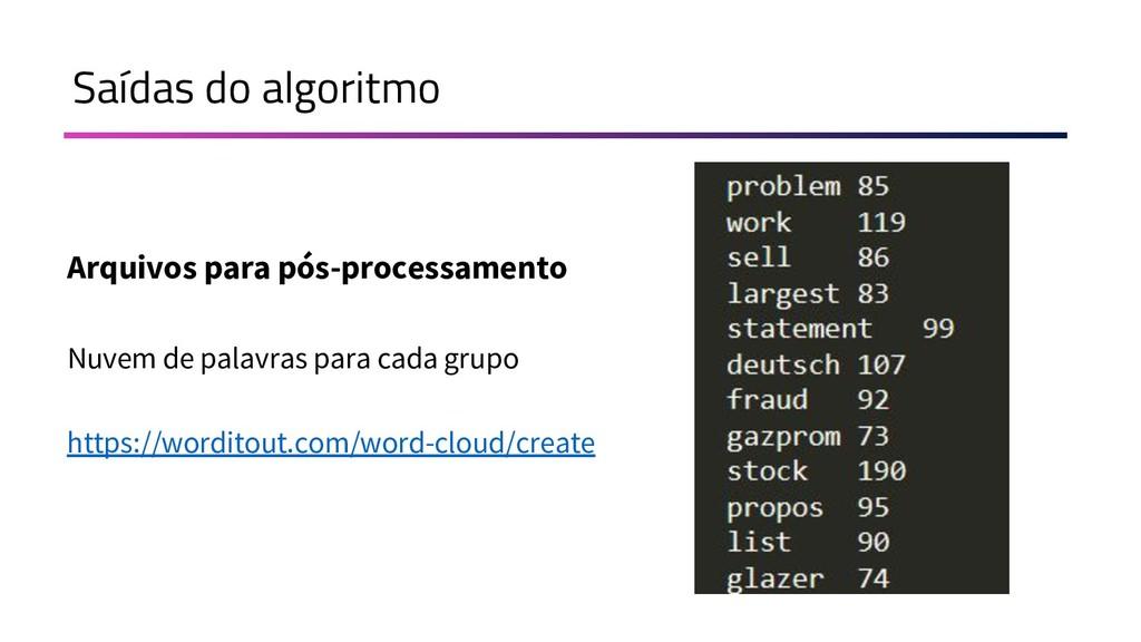 Saídas do algoritmo Arquivos para pós-processam...