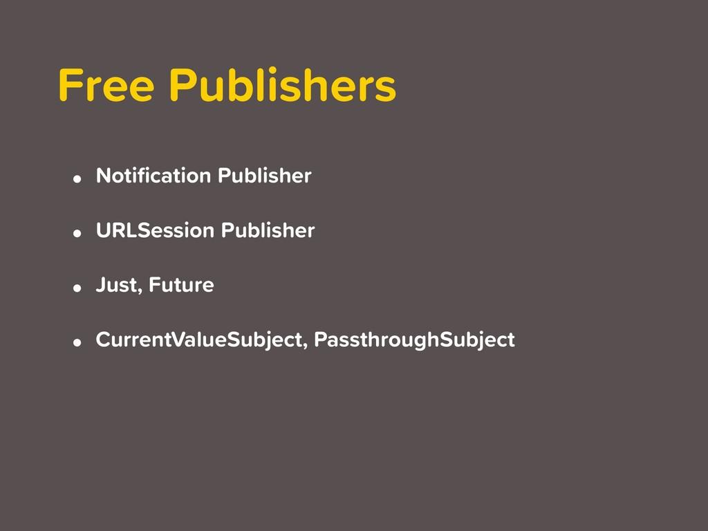• Notification Publisher • URLSession Publisher ...