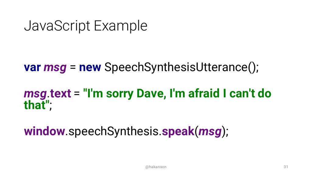 JavaScript Example var msg = new SpeechSynthesi...