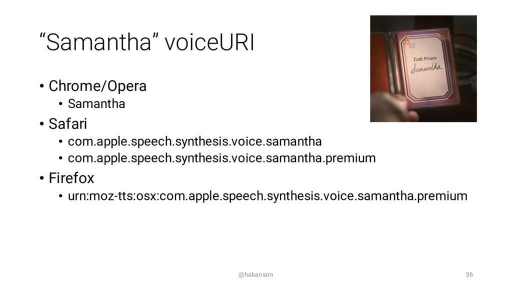 """""""Samantha"""" voiceURI • Chrome/Opera • Samantha •..."""