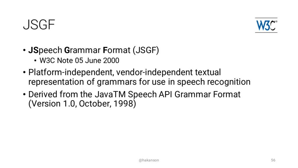 JSGF • JSpeech Grammar Format (JSGF) • W3C Note...