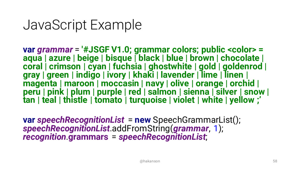 JavaScript Example var grammar = '#JSGF V1.0; g...