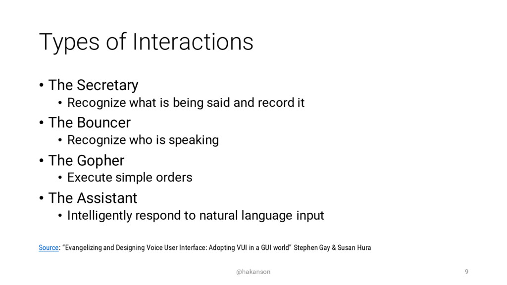 Types of Interactions • The Secretary • Recogni...