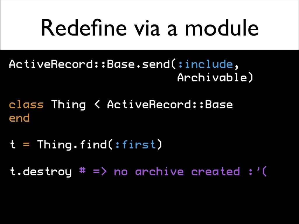Redefine via a module ActiveRecord::Base.send(:i...